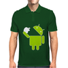 Android Robot Eats Apple Mens Polo