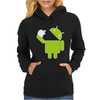Android Robot Eats Apple Womens Hoodie