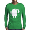 Android Robot Operating Systems Eating Apple Mens Long Sleeve T-Shirt