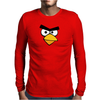 Angry Birds - Red Bird Face - Video Game Character - Gaming Design Mens Long Sleeve T-Shirt