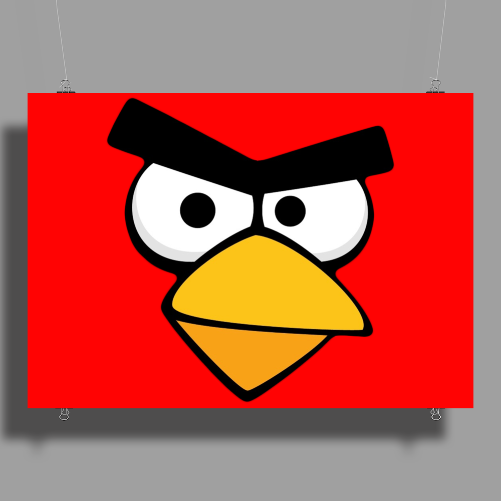 Angry Birds - Red Bird Face - Video Game Character - Gaming Design Poster Print (Landscape)