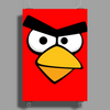 Angry Birds - Red Bird Face - Video Game Character - Gaming Design Poster Print (Portrait)