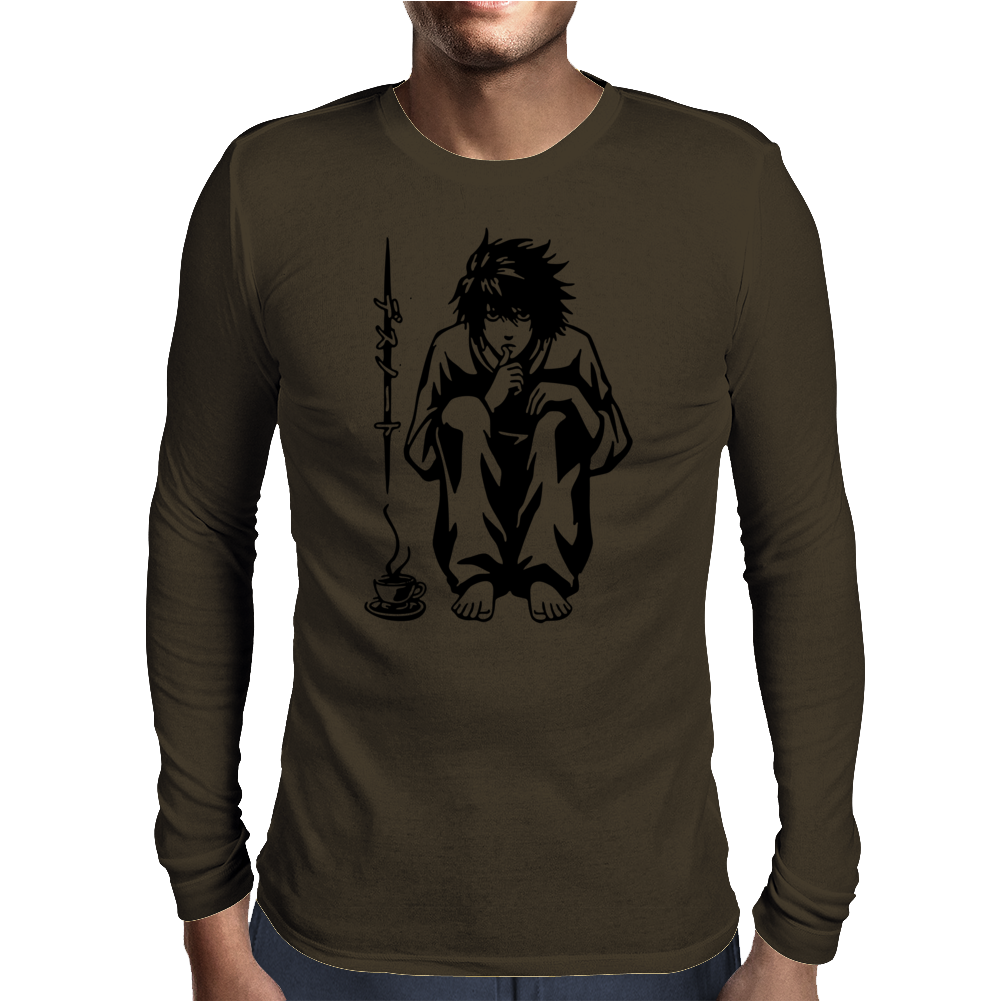 Anime With A Cup Of Coffee Mens Long Sleeve T-Shirt
