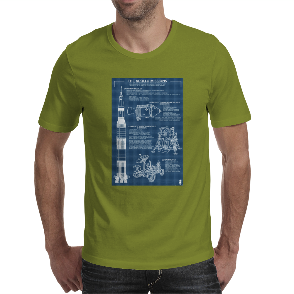 Apollo Missions Blueprint Poster Mens T-Shirt