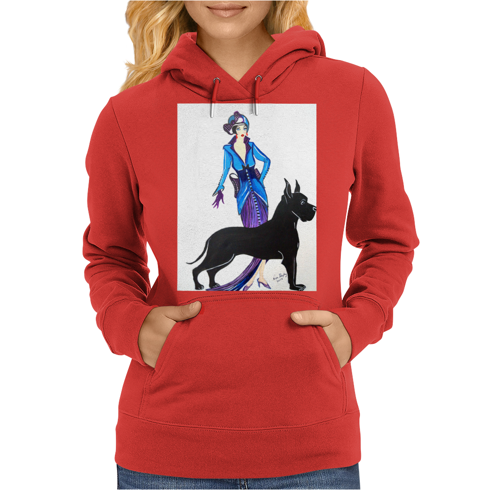 ART DECO, FLAPPER AND DOG Womens Hoodie