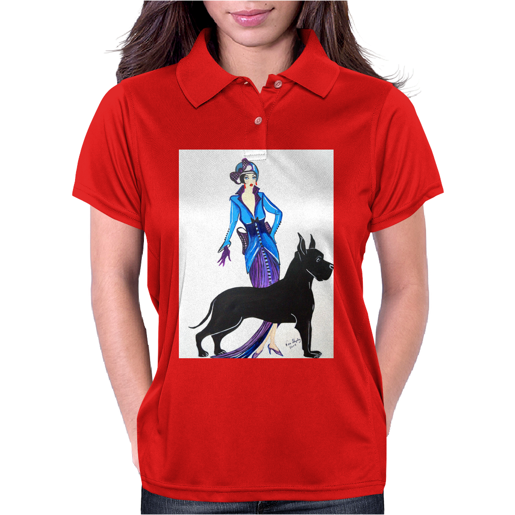 ART DECO, FLAPPER AND DOG Womens Polo
