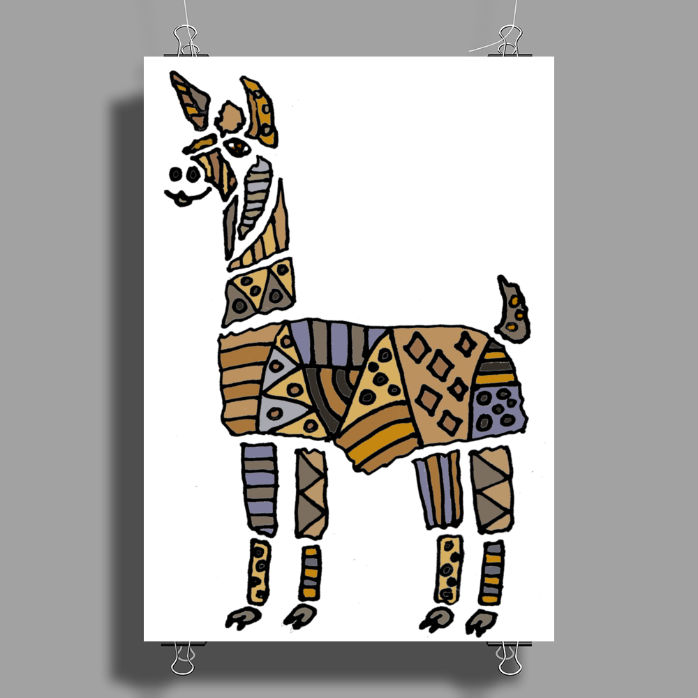 Artistic Awesome Fun Llama Original Art Abstract Poster Print (Portrait)