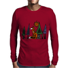 Artistic Red Fox in Woods Original Artwork Mens Long Sleeve T-Shirt