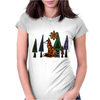 Artistic Red Fox in Woods Original Artwork Womens Fitted T-Shirt