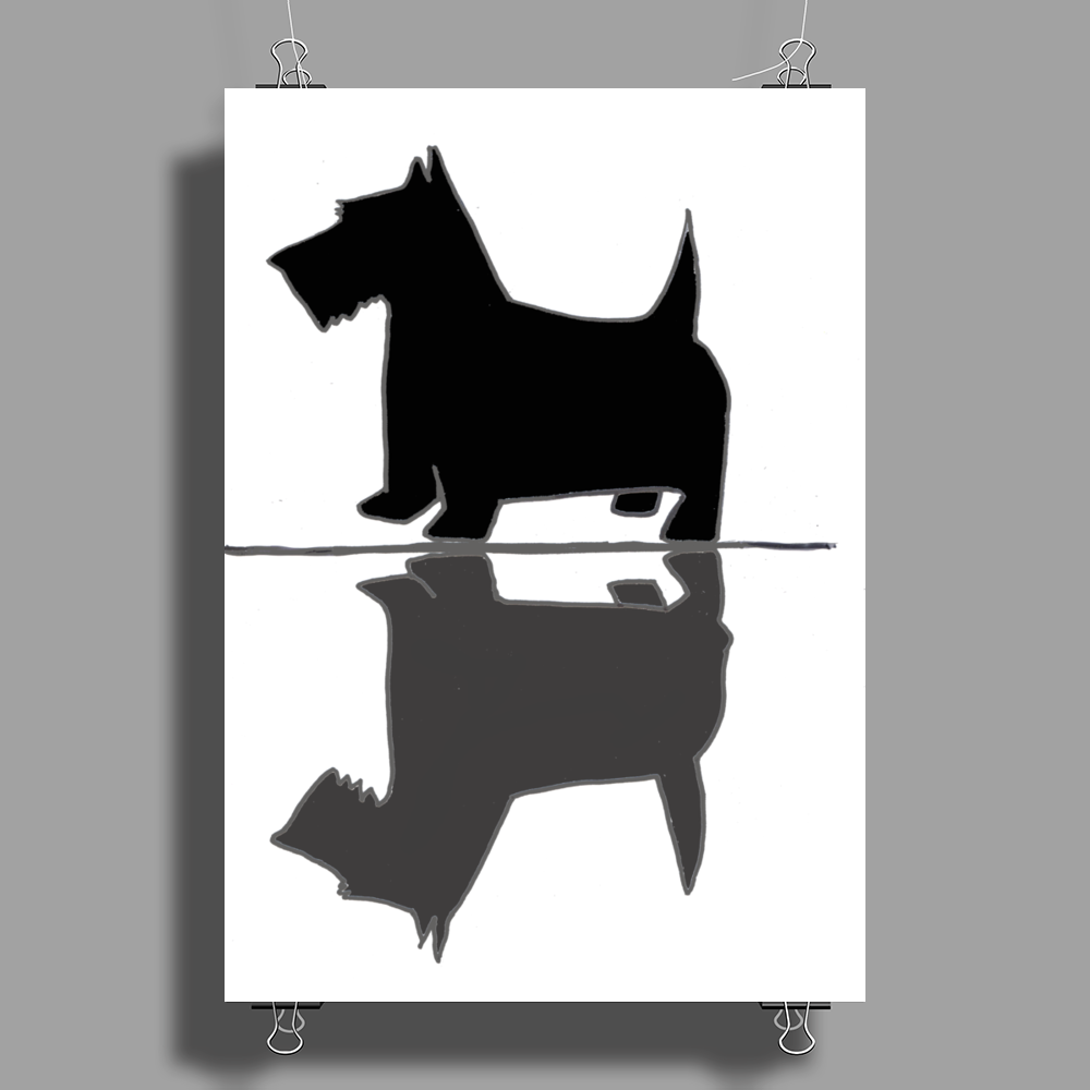 Artistic Scottish Terrier Reflections Art Poster Print (Portrait)