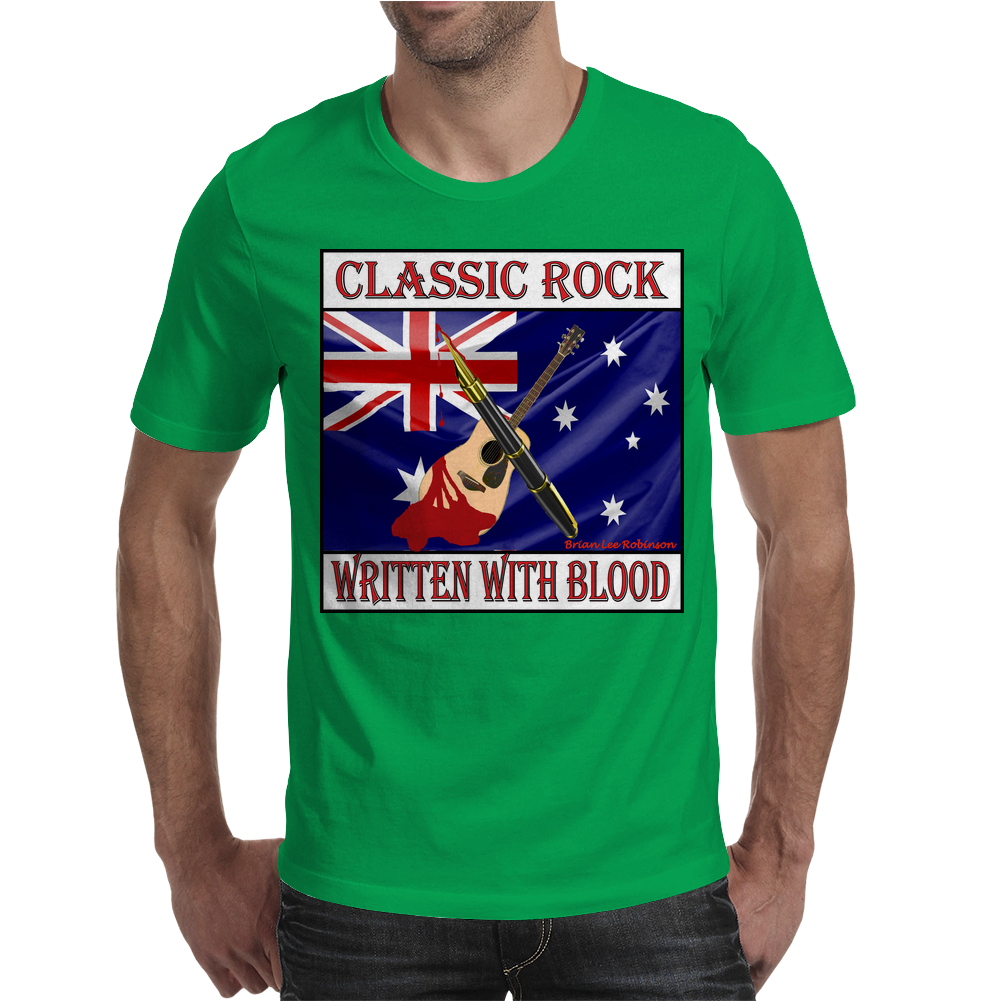 Australian Classic Rock- Written With Blood Mens T-Shirt
