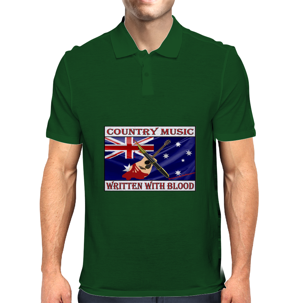 Australian Country Music, Written With Blood Mens Polo