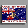 Australian Country Music, Written With Blood Poster Print (Landscape)