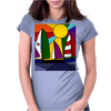 Awesome Abstract Art Sailboats in the Sun Original Womens Fitted T-Shirt