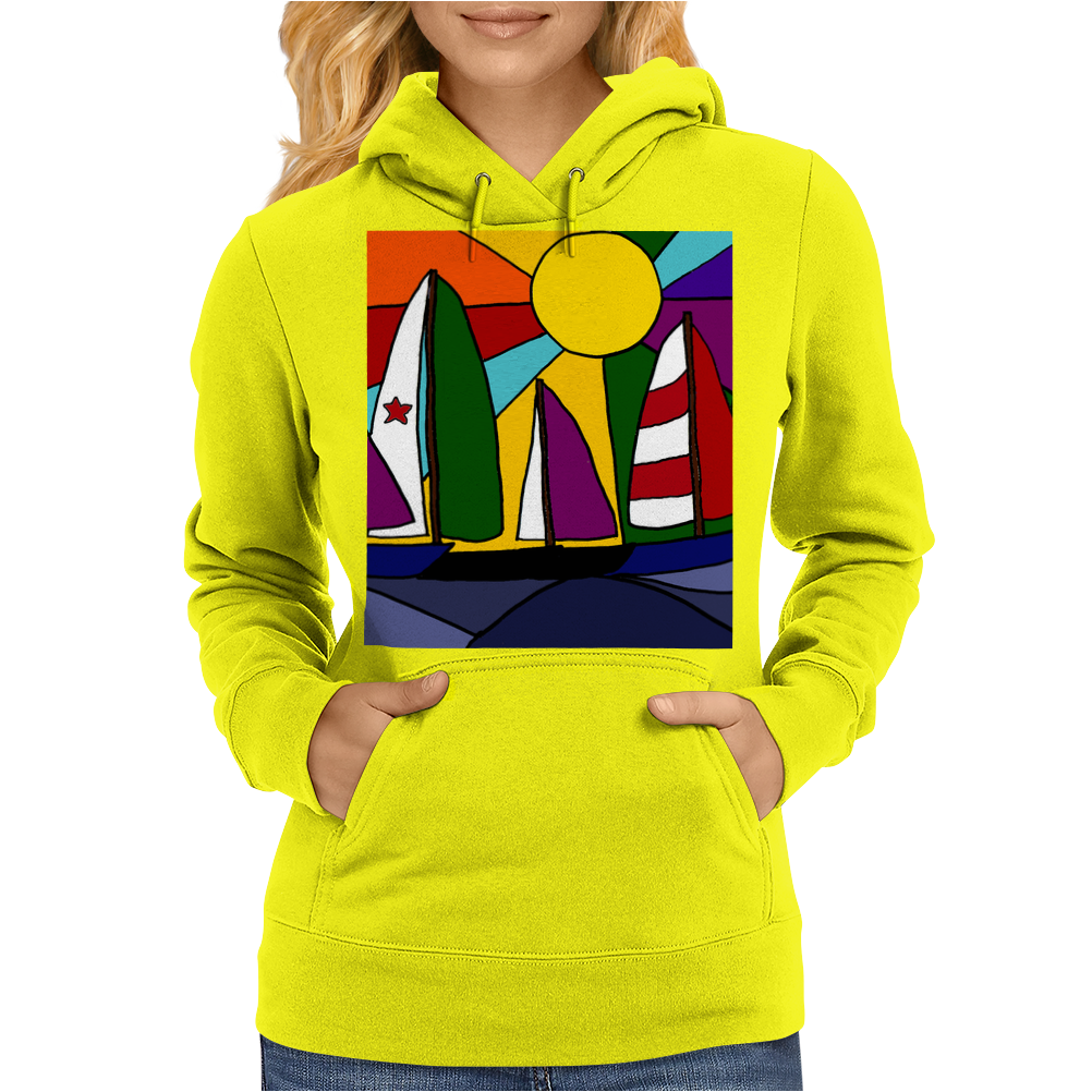 Awesome Abstract Art Sailboats in the Sun Original Womens Hoodie