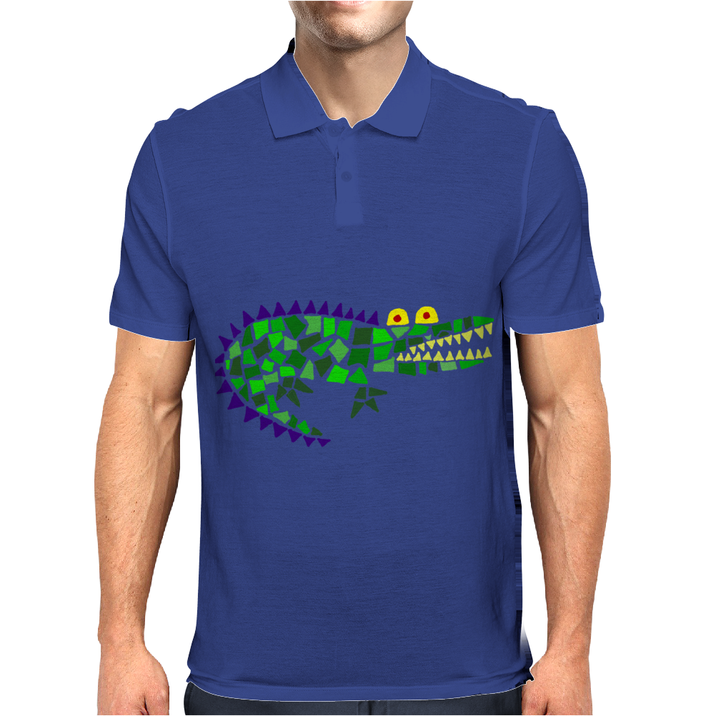 Awesome and Funny Crocodile Art Abstract Original Mens Polo