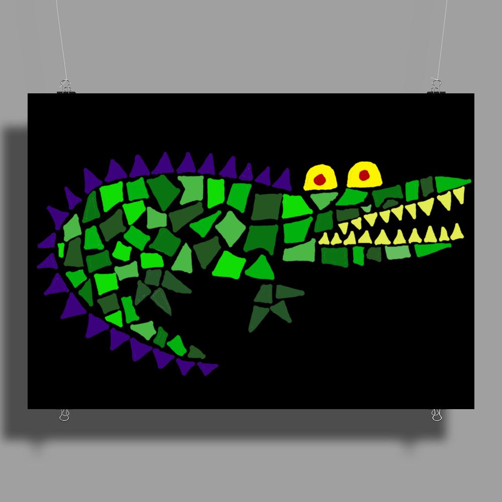 Awesome and Funny Crocodile Art Abstract Original Poster Print (Landscape)
