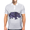 Awesome Artistic Blue and Purple Hippo Abstract Art Mens Polo