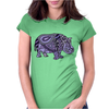 Awesome Artistic Blue and Purple Hippo Abstract Art Womens Fitted T-Shirt