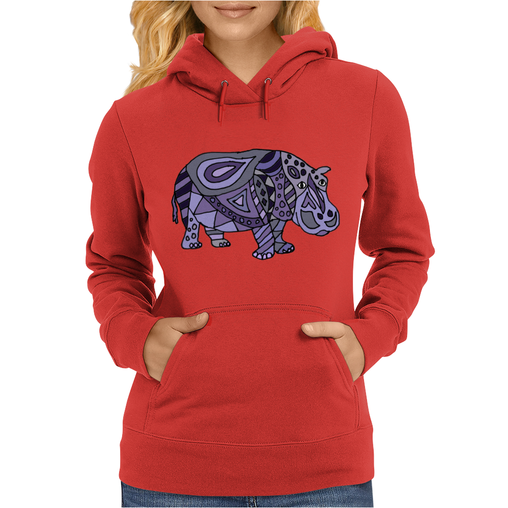 Awesome Artistic Blue and Purple Hippo Abstract Art Womens Hoodie