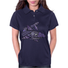 Awesome Artistic Blue Shark Abstract Womens Polo