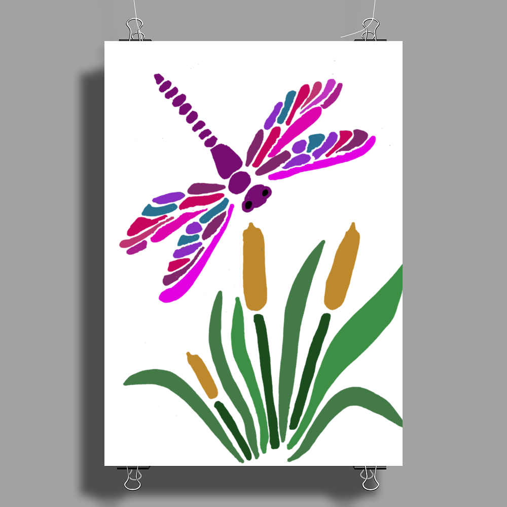 Awesome Artistic Dragonfly Abstract Art Poster Print (Portrait)
