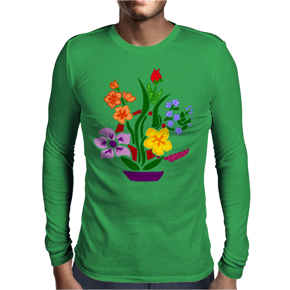 Awesome Artistic Floral Abstract Art Arrangement Mens Long Sleeve T-Shirt
