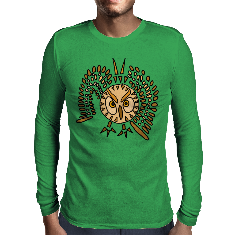 Awesome Artistic Flying Owl Abstract Art Mens Long Sleeve T-Shirt