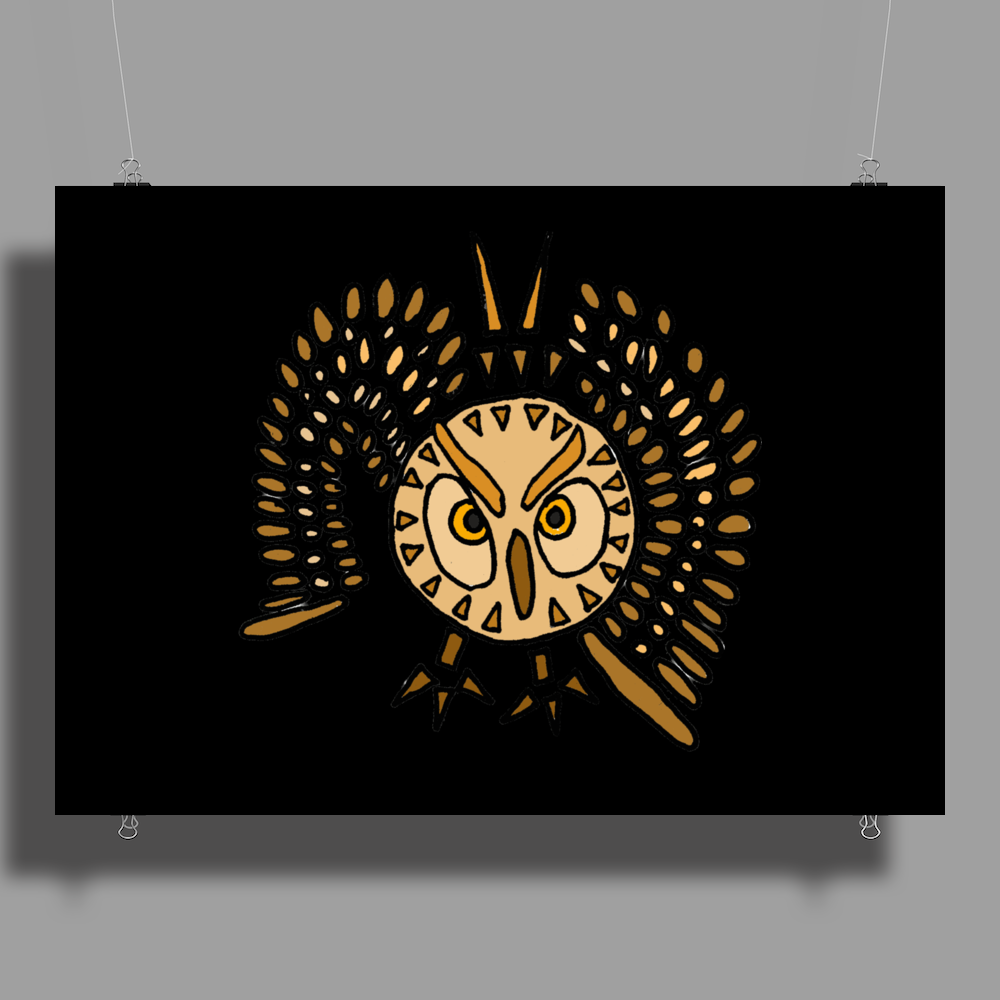 Awesome Artistic Flying Owl Abstract Art Poster Print (Landscape)