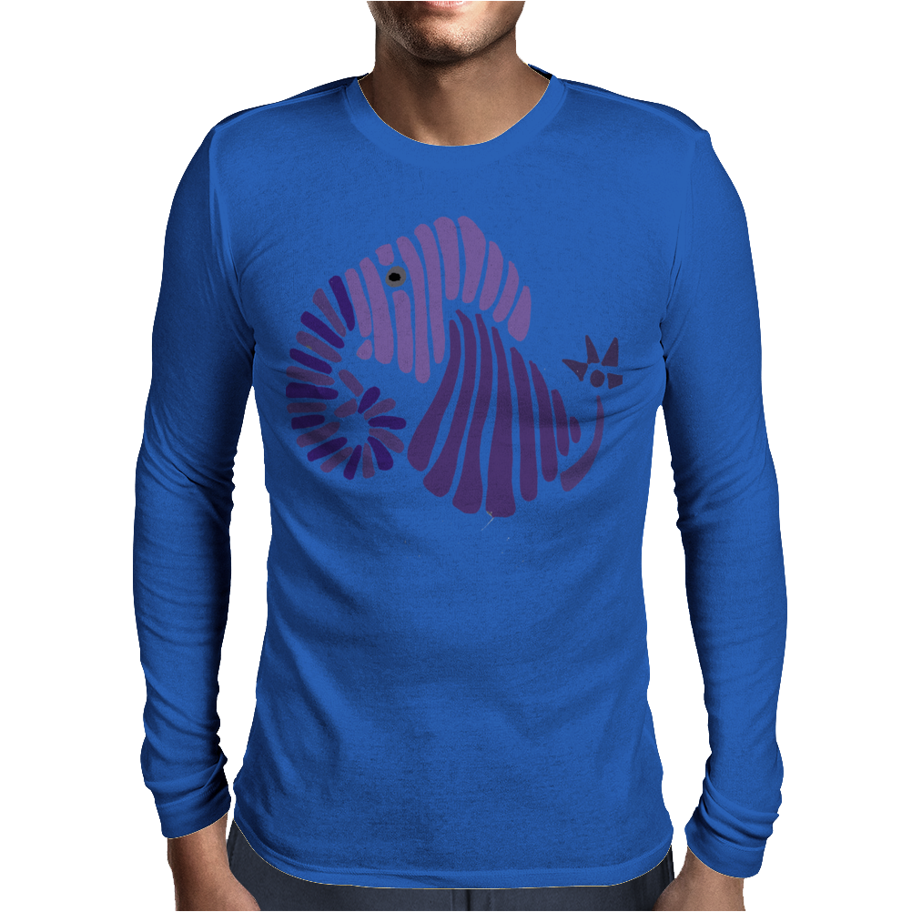 Awesome Artistic Fun Blue Elephant Abstract Mens Long Sleeve T-Shirt
