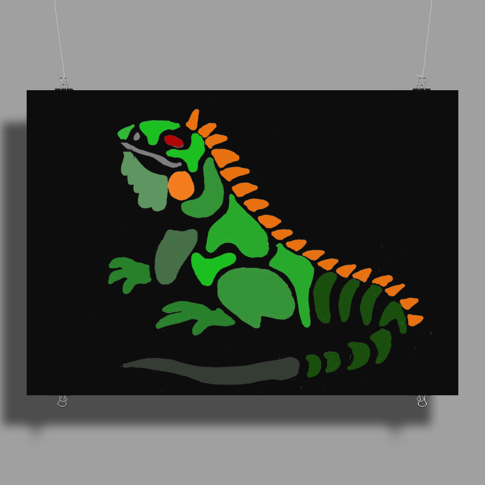 Awesome Artistic Green Iguana Art Abstract Poster Print (Landscape)