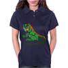 Awesome Artistic Green Iguana Art Abstract Womens Polo