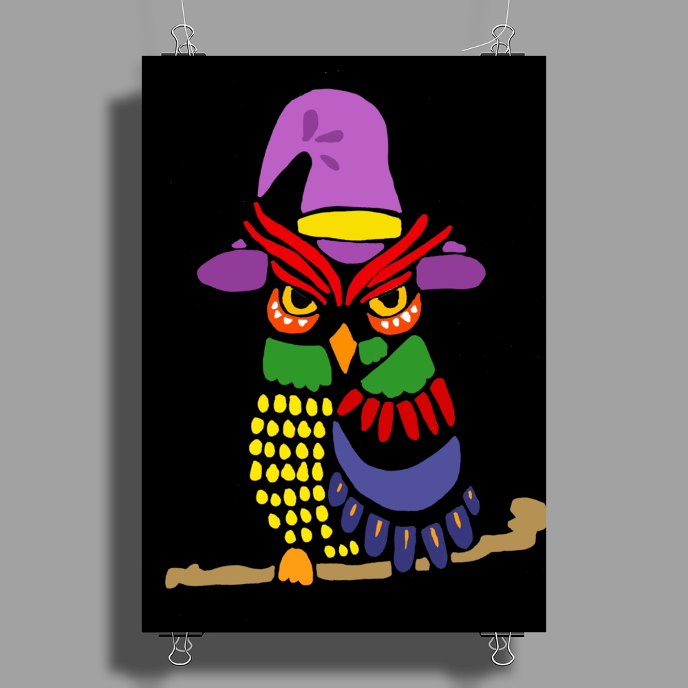 Awesome Artistic Owl Wizard Art Poster Print (Portrait)