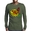 Awesome Artistic Red Butterly on Yellow Daisy Art Mens Long Sleeve T-Shirt