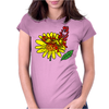 Awesome Artistic Red Butterly on Yellow Daisy Art Womens Fitted T-Shirt