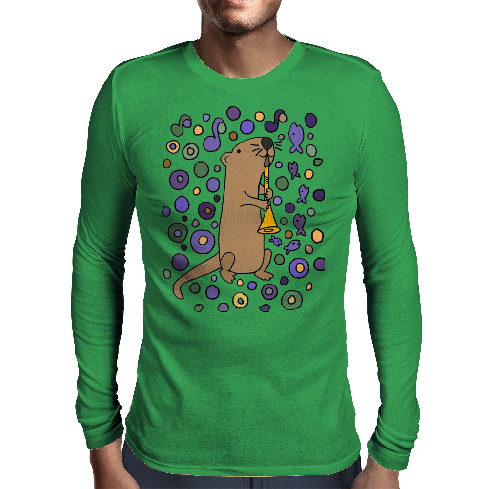 Awesome Artistic Sea Otter Playing Clarinet Mens Long Sleeve T-Shirt