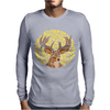 Awesome Artsy Deer Buck and Moon Abstract Art Mens Long Sleeve T-Shirt