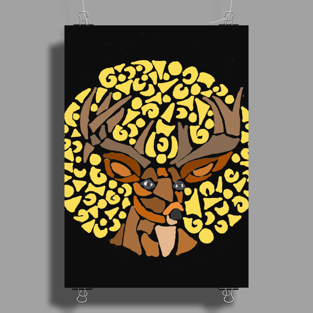Awesome Artsy Deer Buck and Moon Abstract Art Poster Print (Portrait)