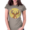 Awesome Artsy Deer Buck and Moon Abstract Art Womens Fitted T-Shirt