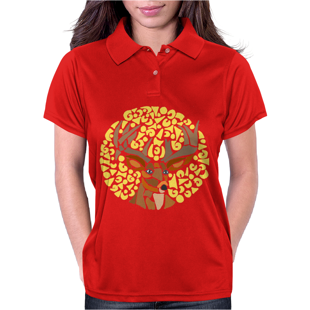 Awesome Artsy Deer Buck and Moon Abstract Art Womens Polo