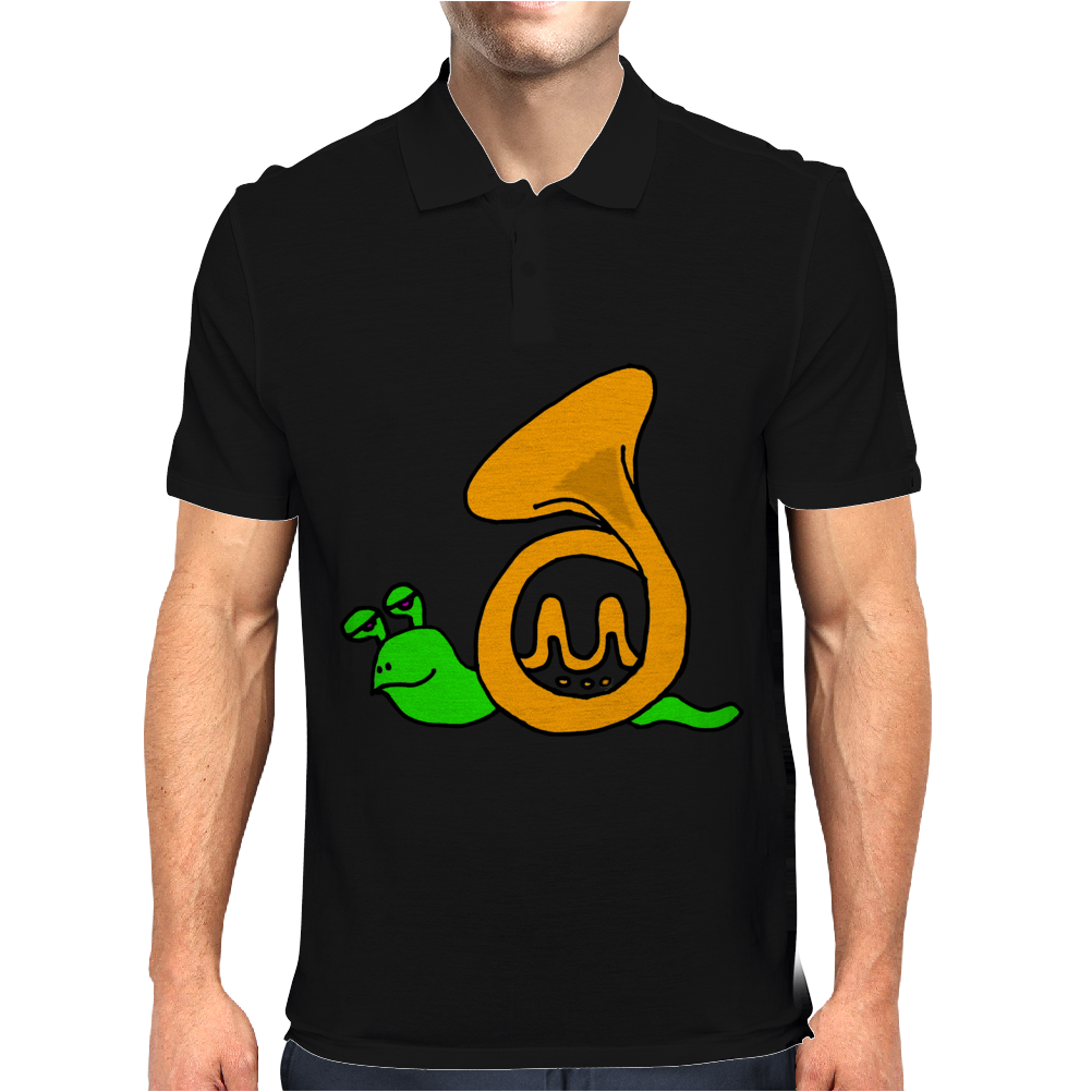 Awesome Artsy Funny Green Snail in French Horn Shell Mens Polo