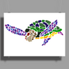 Awesome Artsy Sea Turtle Abstract Art Poster Print (Landscape)