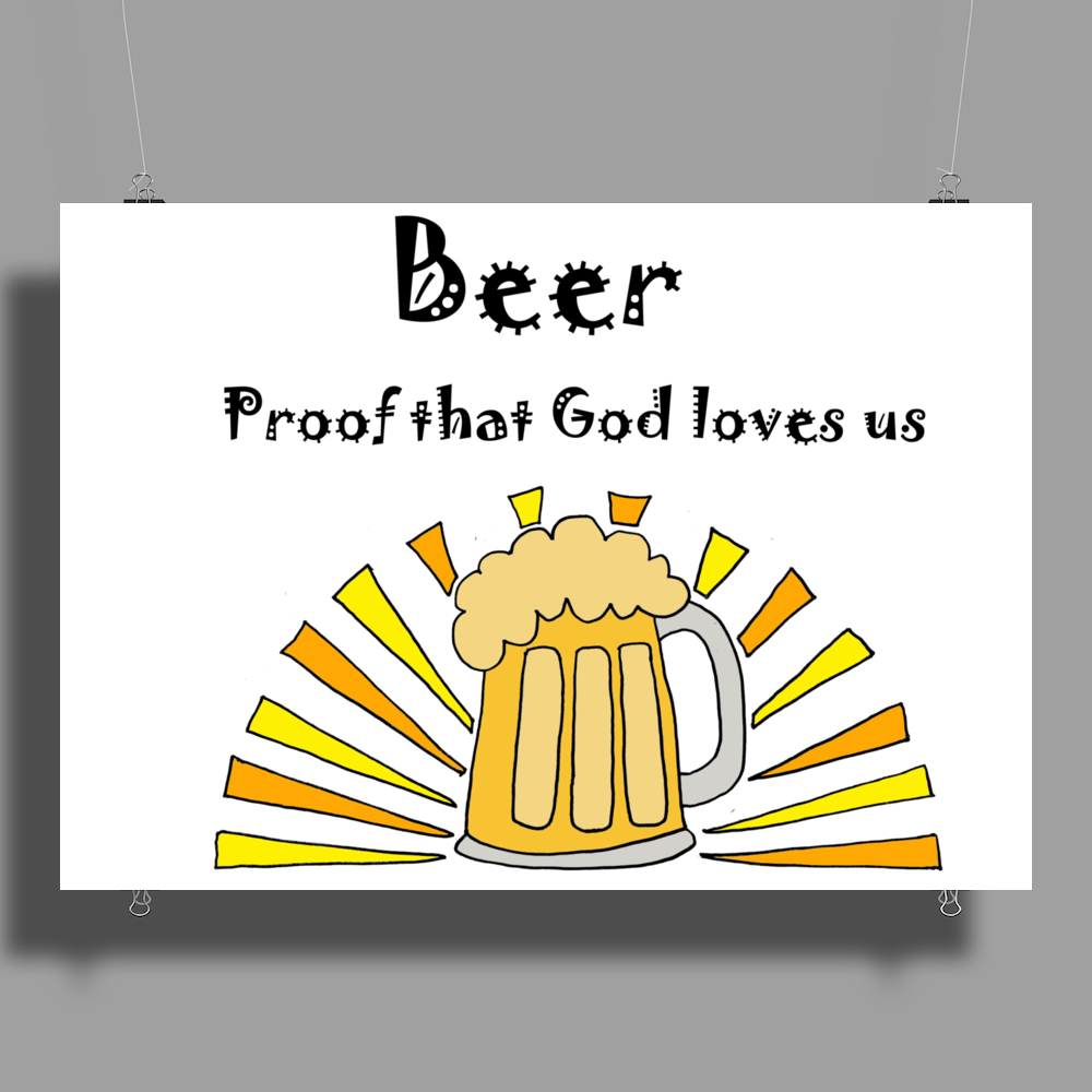 Awesome Beer Lover's Mug and Sun Rays Art Poster Print (Landscape)