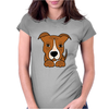 Awesome Brown and White Pitbull Puppy Dog Art Womens Fitted T-Shirt