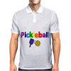 Awesome Colorful Pickleball Letters and Paddle Art Original Mens Polo