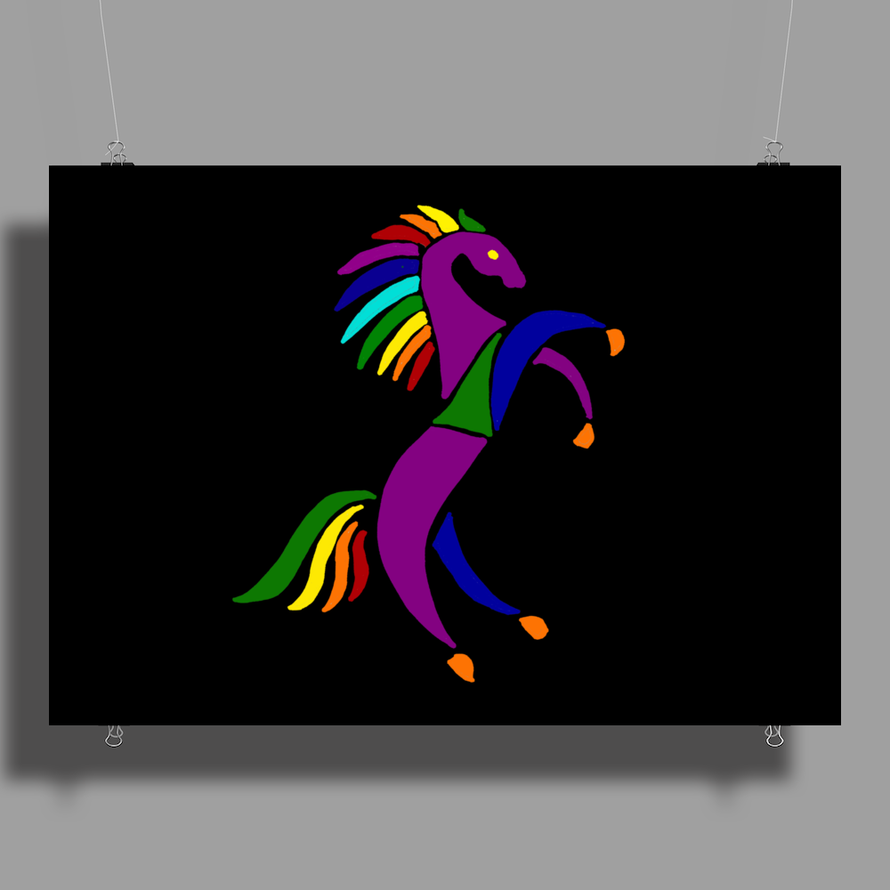 Awesome Colorful Rearing Horse Abstract Art Poster Print (Landscape)