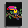 Awesome Colorful Toucan Bird Abstract Art Poster Print (Portrait)