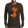 Awesome Cool Red Fox with Saxophone Mens Long Sleeve T-Shirt