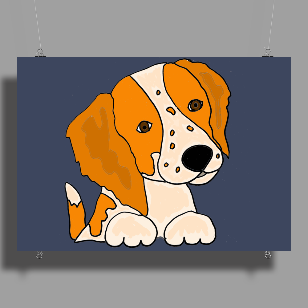 Awesome Cute Brittany Spaniel Puppy Dog Art Poster Print (Landscape)