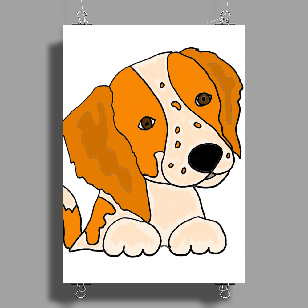 Awesome Cute Brittany Spaniel Puppy Dog Art Poster Print (Portrait)